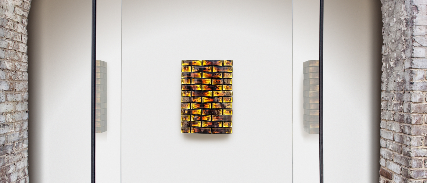 Precious Stonewall, 2013. Indian mirrored glass, wood, metal